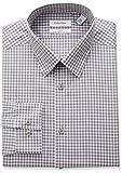 Calvin Klein Mens Non Iron Regular Fit Plaid Spread Collar Dress Shirt