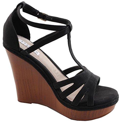 Elegant Schoenen Dames T-strap Open Teen Platform Wig Sandaal Zwart