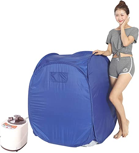 Smartmak Portable Steam at Home Sauna, Upgrade 2L Steamer, Lightweight Tent, One Person Full Body Spa for Weight Loss Detox Therapy US Plug -Blue