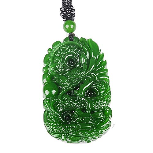 mapnana Chinese Traditional Crafting Green Jade Fortune Dragon