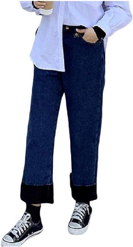 Romancly レディースプラスサイズソリッドカラー ストレートフィットポケットフリースデニムジーンズパンツ