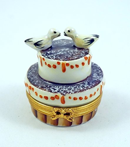 Authentic French Porcelain Hand Painted Valentine's Limoges Box Chocolate Valentine's Anniversary Cake with Doves
