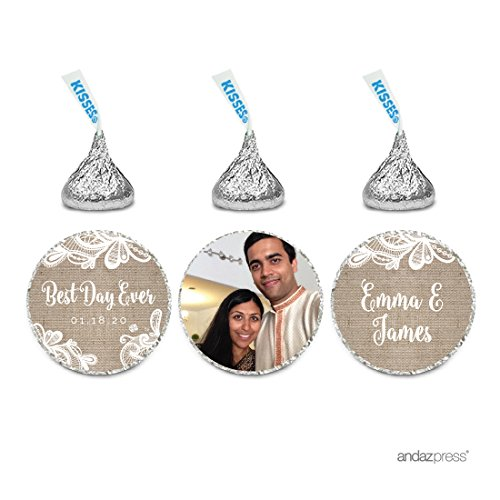 Andaz Press Burlap Lace Wedding Collection, Photo Personalized Chocolate Drop Label Stickers Trio, 216-Pack, Custom Name, Fits Hershey's Kisses Party Favors (Personalized Photo Chocolate)