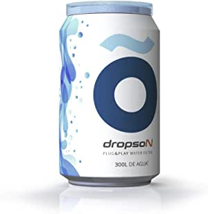 dropson Lata filtrante Filtro de Agua para Grifo, Membrana de microfiltración 100% Natural, 300 litros de Agua filtrada, monitorizable con Smartphone, Llena una Jarra de 1L en 1 min.