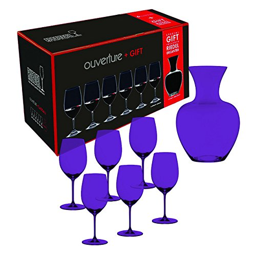 Full Purple Color Riedel Ouverture Magnum Glasses + Apple Decanter, Clear, Set of 7 by TableTop King