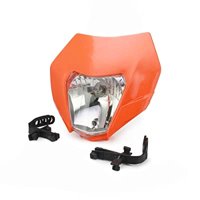 Universal Headlight Head Lamp Light Fairing Street Fighter Mask Day Running Light Turn Signal Lights For KTM EXC250 SX250 SXF250 EXC450 SX350 SXF450 EXC525 640LC4 - Orange: Automotive