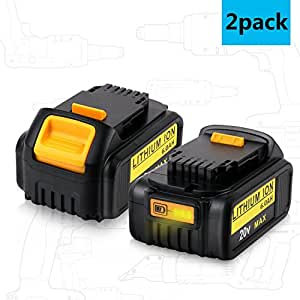 Libatter 20V MAX 6.0Ah Lithium ion premium battery for Dewalt DCB204 DCB205 DCB205-2 DCB200 DCB180 DCD985B DCD771C2 DCS355D1 DCD790B Cordless power tools replace battery (2 pack)