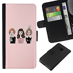 KingStore / Leather Etui en cuir / HTC One M9 / Señora Amigos Iglesia Moda