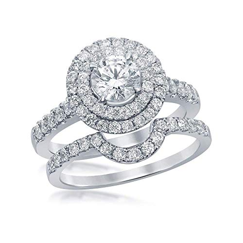 Jewel Tie - Size 9 - Solid 14k White Gold Certified Round Diamond Double Halo Bridal Engagement Ring Wedding Band Set Set 1-3/4 Cttw.