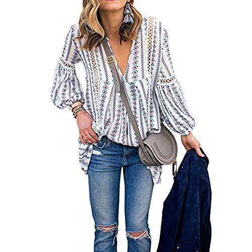 Shirt Casual Blouse Tops A Tees Chemisier Fleurs V Dentelle Femme Imprim T Longues Col Sexy Manche Mode Blanc Chic afgxfw7