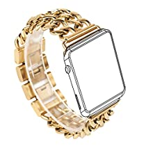For Apple Watch Band, Wearlizer Stainless Steel Watch Band Replacement Strap for Both Apple Watch Series 1 and Series 2 - 38mm Gold