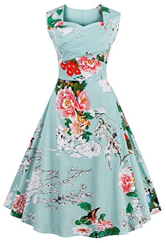 [VOGVOG Women's 1950s Retro Vintage Cap Sleeve Party Swing Dress, Floral Mint Green, Large] (1950 Dress)