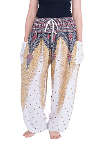 Lannaclothesdesign Women's Boho Yoga Peacock Drawstring Thai Harem Pants (XL, White)
