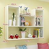 Wall mount shelf,Decorative wall book shelf set hanging flower rack wood simple creative for living room or bedroom-Q