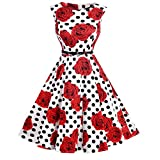 SciMam Women's 1950s Vintage Floral Boat Neck Sleeveless Party Swing Dress with Belt