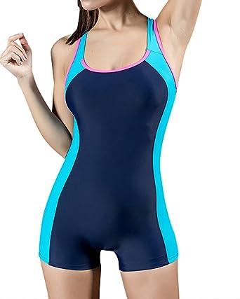 04a59b584c6e Bañador Pieza Traje de Baño Traje de Natación con Pantalones Cortos para  Mujer