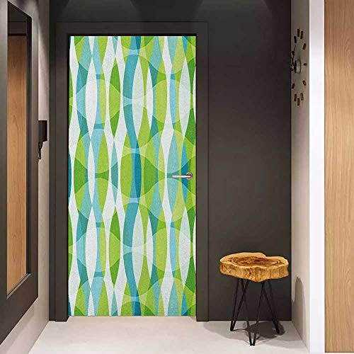 Onefzc Soliciting Sticker for Door Grunge Geometric Oval Shapes Elliptic Vertical Curves Nature Theme Pattern Mural Wallpaper W17.1 x H78.7 Apple Green Turquoise White ()