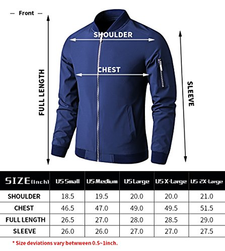 LTIFONE Mens Casual Jacket Zip up Lightweight Bomber Flight Sportswear Jacket Windbreaker Softshell with Ribbing Edge(Blue,L) by LTIFONE (Image #5)