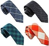Casual Skinny Neckties for Men Cotton Plaid/Floral Slim Tie TG-001