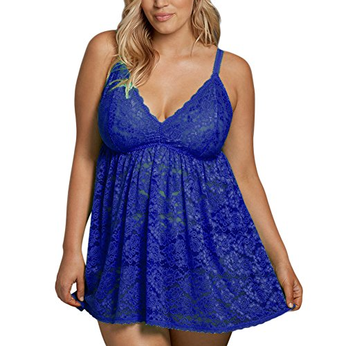 FeelinGirl Women Plus Size Baby Doll Lingerie Blue XL (Baby Size Dolls Plus)