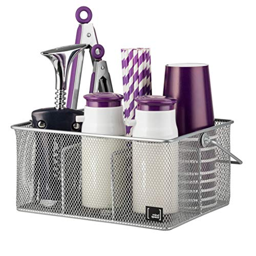 Utensil Holder By Mindspace Kitchen Condiment Organizer and Flatware Utensil Caddy | The Mesh Collection Silver