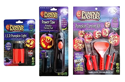 Halloween Pumpkin Carving Set,#1 Selling Brand, Power Carving Saw, Hand Carving Tools, 10 Patterns, LED Pumpkin Light -