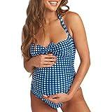AOmahh Women's Maternity One Piece Swimsuit Sleeveless Halter Sling Lattice Print Bikinis Swimwear Beachwear Suit Blue