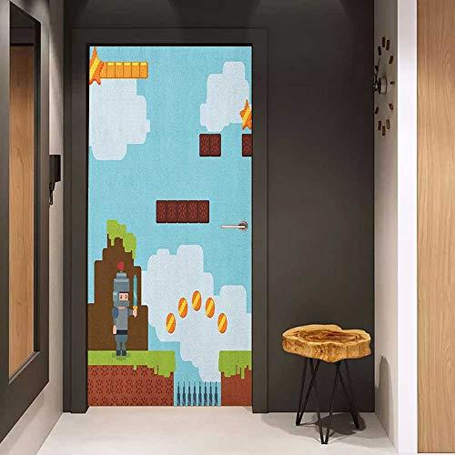 Onefzc Door Wallpaper Murals Video Games Arcade World Kids 90s Fun Theme Knight with Fireball Bonus Stars Coins Image WallStickers W38.5 x H79 Multicolor