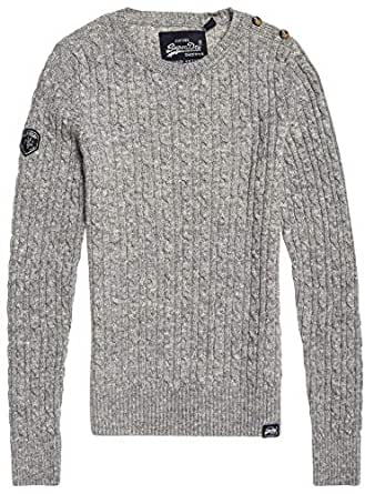 Superdry Women's Women's CROYDE Cable Knit Sweater, Grey Marl, 10