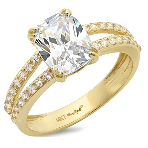 Clara Pucci 4.35 CT Cushion Cut CZ Solitaire Engagement Ring 14K Yellow Gold Bridal Jewelry, Size 5.5