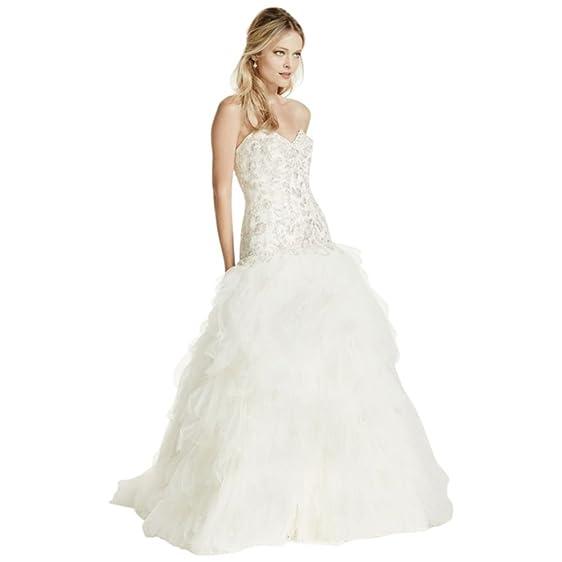 David\'s Bridal Extra Length Tulle Drop Waist Wedding Dress with ...