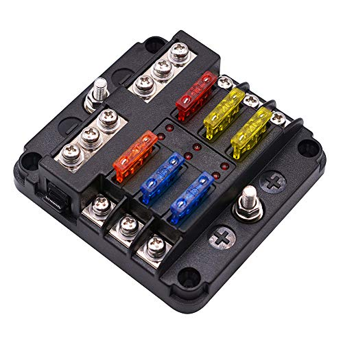 WUPP ST Blade Fuse Block with LED Warning Indicator Damp-Proof Cover - 6 circuits with negative bus Fuse Box for Car Boat Marine RV Truck DC 12-24V