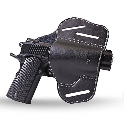 Lirisy Ultimate Leather Gun Holster | 3 Slot Open Carry OWB Belt Slide Holster | Fits 1911 Style Handgun & Full Size Pistol Glock 17 19 31 37