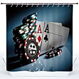 SCOCICI Fun Shower Curtain,Poker Tournament Decorations,Gambling Chips and Pair Cards Aces Casino Wager Games Hazard,Multicolor,Polyester Shower Curtains Bathroom Decor Set with Hooks