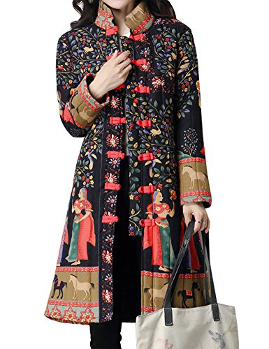 Flax Coat (IDEALSANXUN Women's Cotton Linen Vintage Floral Print Lightweight Trench Coat Long Button Down Jacket Robe (Medium, 2 Black(Tibetian Queen)))