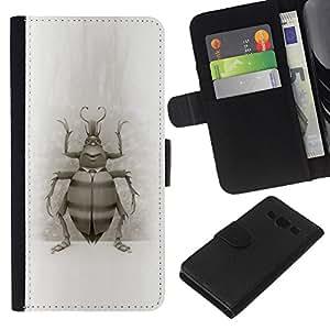 Planetar® Modelo colorido cuero carpeta tirón caso cubierta piel Holster Funda protección Para Samsung Galaxy A3 / SM-A300 ( Bug Beetle Drawing Wings Nature Legs Art )