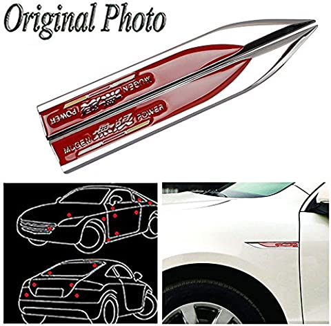 CHAMPLED 2Pcs Great Metal Car Side Fender fit Red MUGEN POWER hot Skirts Knife Type Sticker Badge Emblem For FORD CHRYSLER CHEVY CHEVROLET DODGE CADILLAC JEEP GMC PONTIAC HUMMER LINCOLN - Chevrolet Avalanche 1500 Front Bumper