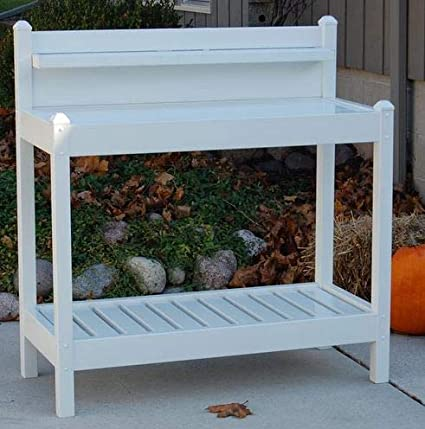 c08d1ecfa5f00 Potting Table-Potting Benches for Outside- White Plastic Vinyl with Two  Shelves - If