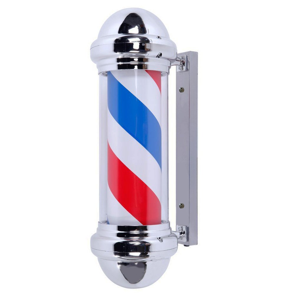 Clevr 30'' LED Barber Pole, IP44 Waterproof,Rotating Red White Blue LED Strips, Spinning Salon Light Sign,