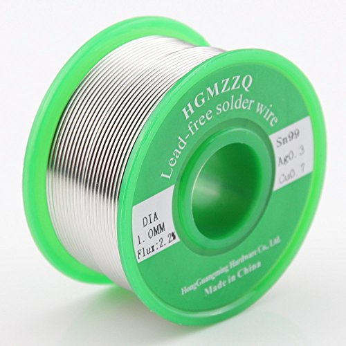HGMZZQ Lead Free Solder Wire with Rosin Core for Electrical Soldering Sn99 Ag0.3 Cu0.7 100g 0.039 inch(1.0mm)