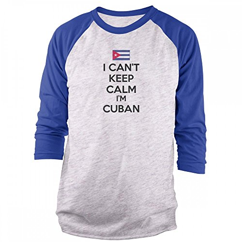 Vine Fresh Tees - I Can't Keep Calm I'm Cuban 3/4 Sleeve Raglan T-Shirt - Large, Ash w/Royal