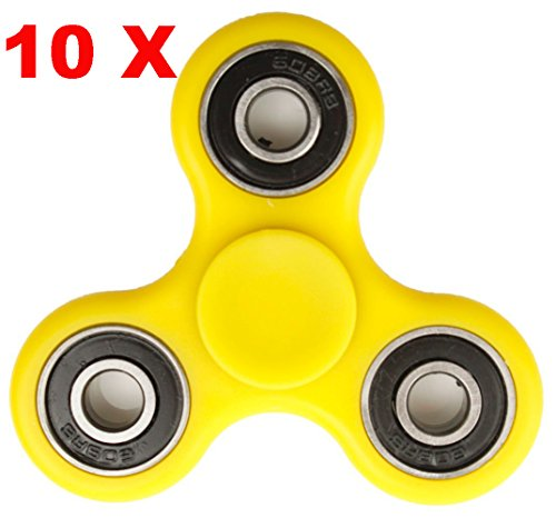 Price comparison product image 10 PACK Tri-Spinner Fidget Hand Spinner Toy, High Speed Stress Reducer EDC Focus Fast Bearings Relieves Toy for ADD, ADHD, Anxiety, Boredom and Autism Adult Children (Yellow)