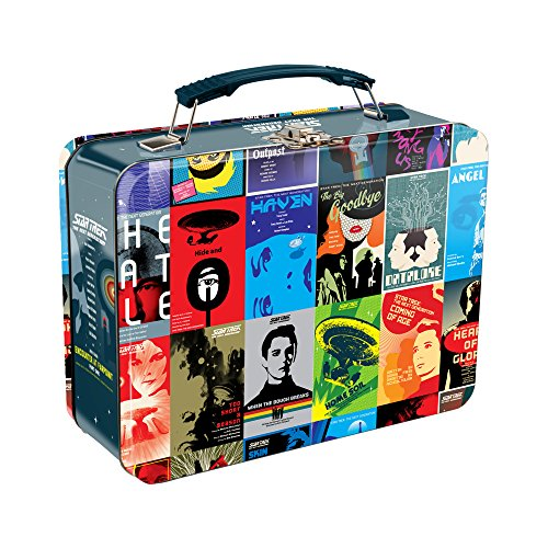 Vandor 80270 Star Trek The Next Generation Collage Shaped Tin Metal Lunchbox Tote with Handle, Large ()