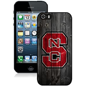 Fashionable And Unique Custom Designed With NCAA Atlantic Coast Conference ACC Footballl North Carolina State Wolfpack 3 Protective Cell Phone Hardshell Cover Case For iPhone 5S Phone Case Black