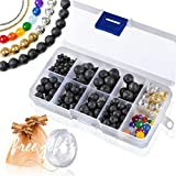 Flex HQ 495 PCS Lava Beads Kit, Black Colored Loose Volcanic Stone Round Rock Gemstone for Essential Oils with Assorted Natural Chakra Beads for Jewelry Bracelet Making