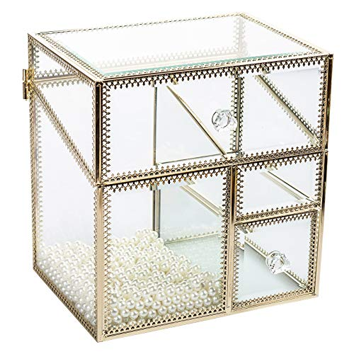 Display4top Antique Gold-Rimmed Glass Makeup Organizer Dustproof Vintage Cosmetic Storage Makeup Vanity Dresser Decoration Jewelry Box with Free White Pearl