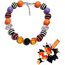 Halloween Cute Chunky Bubblegum Beads Necklace and Little Elf Hair Bands Set for Kids Girls Women