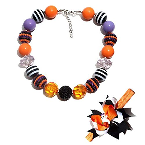 (Halloween Cute Chunky Bubblegum Beads Necklace and Little Elf Hair Bands Set for Kids Girls)