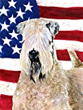 Caroline's Treasures SS4019CHF USA American Flag with Wheaten Terrier Soft Coated Canvas House Flag, Large, Multicolor Review