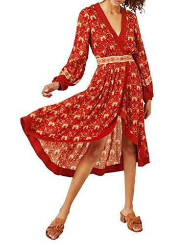 R.Vivimos Women Long Sleeve Vintage Floral Print High Low Asymmetric A-Line Dresses